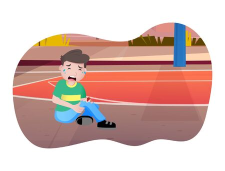 Vector cartoon illustration boy is crying. Isolated on white background.