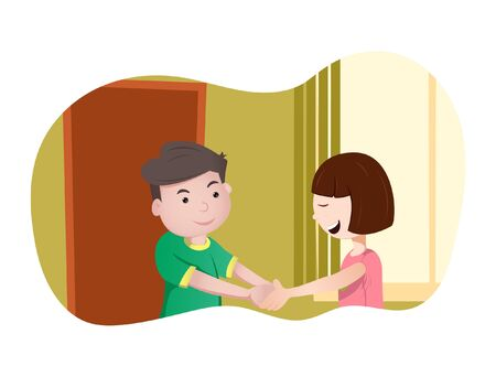 Vector cartoon illustration of boy and girl shaking hands. Isolated on white background.