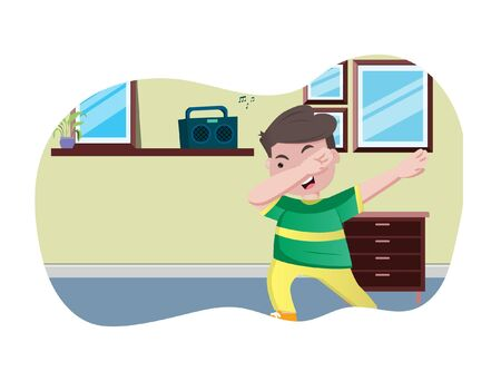 Vector cartoon illustration of boy dancing. Isolated on white background.  イラスト・ベクター素材