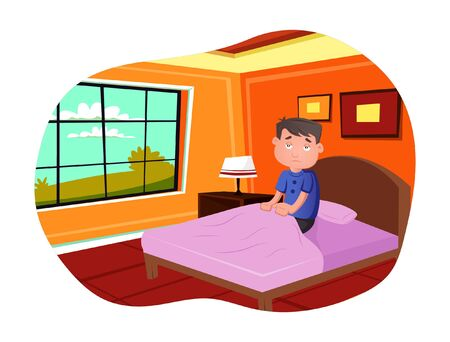 Vector cartoon illustration of boy wake up in the morning giving weird expression. Isolated on white background.