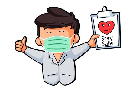 Vector cartoon illustration. Doctor is wearing mask and saying stay safe. Isolated on white background. Ilustracja