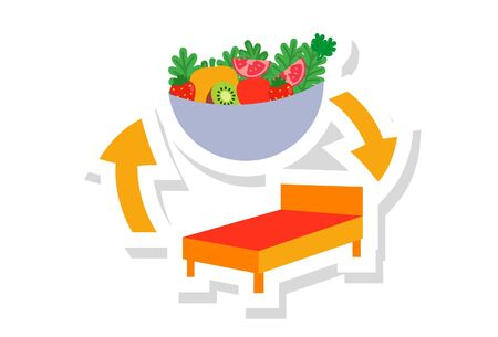 Vector cartoon illustration of fruit bowl and bed. Isolated on white background.