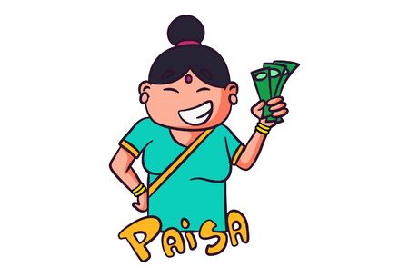 Vector cartoon illustration of woman holding money in hand. Paisa Hindi text translation - money. Isolated on white background.