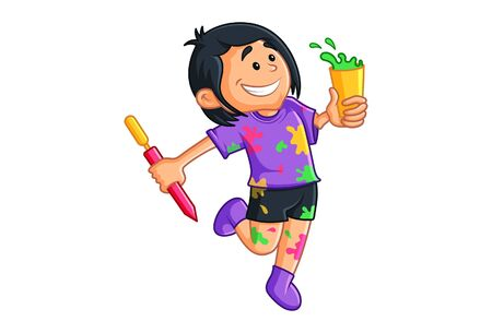Vector cartoon illustration of boy with holi colors and pichkari. Isolated on white background. Ilustración de vector