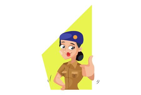 Vector cartoon illustration of muni bedi with thumbs up sign. Isolated on white background.