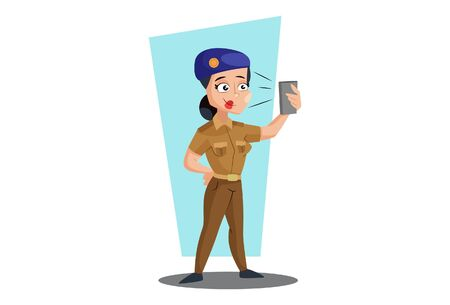 Vector cartoon illustration of muni bedi taking selfie with phone. Isolated on white background.