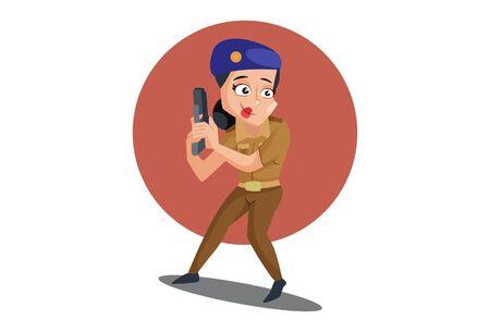Vector cartoon illustration. Muni bedi is holding pistol in hand. Isolated on white background. Ilustração