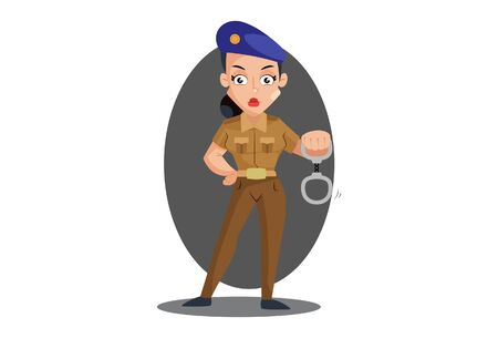 Vector cartoon illustration. Muni bedi is holding handcuffs in hand. Isolated on white background.