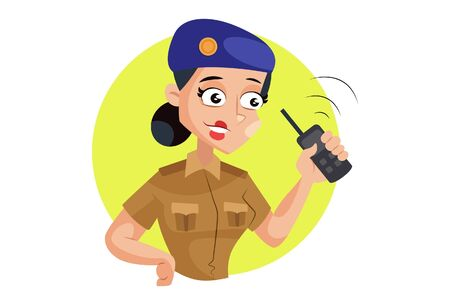 Vector cartoon illustration. Muni bedi is holding walkie talkie in hand and listening message. Isolated on white background.