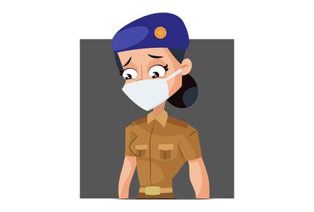 Vector cartoon illustration. Muni bedi is wearing mask. Isolated on white background.