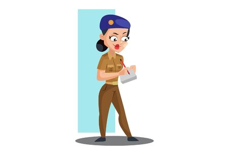 Vector cartoon illustration. Muni bedi is writing with pen on notepad. Isolated on white background.