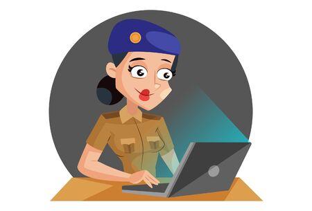 Vector cartoon illustration of muni bedi working on laptop. Isolated on white background. Ilustração