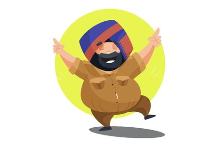 Vector cartoon illustration of fateh singh is dancing. Isolated on white background. 向量圖像