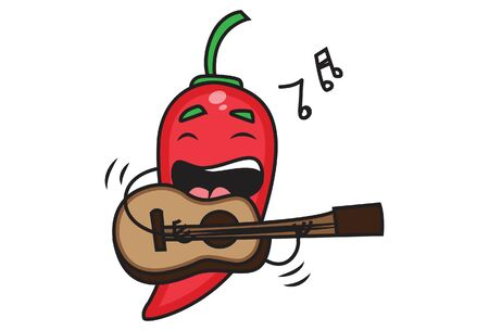 Vector cartoon illustration of red chili holding a guitar in hand and playing music. Isolated on white background. Ilustração