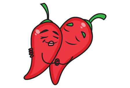 Vector cartoon illustration. Red chilies hugging each other. Isolated on white background.