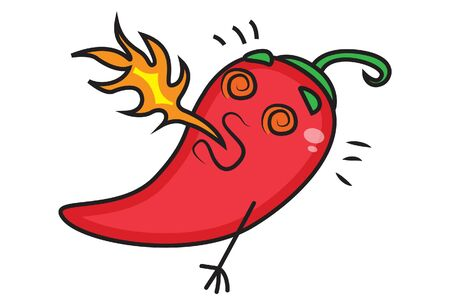 Red chili with fire from the mouth. Vector cartoon illustration. Isolated on white background. Ilustração