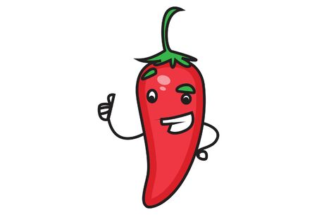Vector cartoon illustration of red chili with showing thumbs up. Isolated on white background.