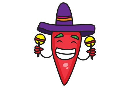 Vector cartoon illustration of red chili. Wearing a hat and holding toys in hands. Isolated on white background.