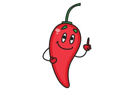 Vector cartoon illustration of cute red chili smiling. Isolated on white background.