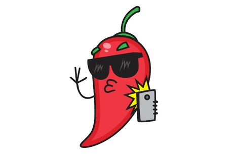 Vector cartoon illustration of the red chili taking selfie from mobile. Isolated on white background.