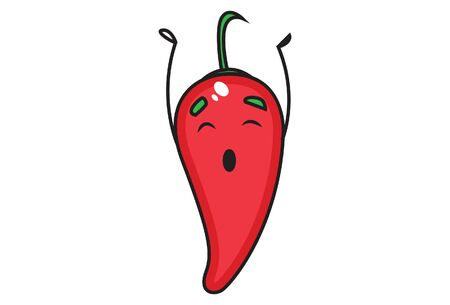 Vector cartoon illustration of red chili eyes close. Isolated on white background.