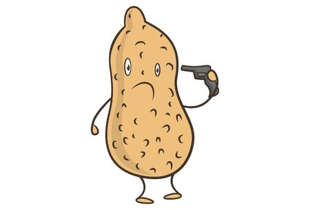 Vector cartoon illustration of groundnut holding the gun in hand. Isolated on white background.