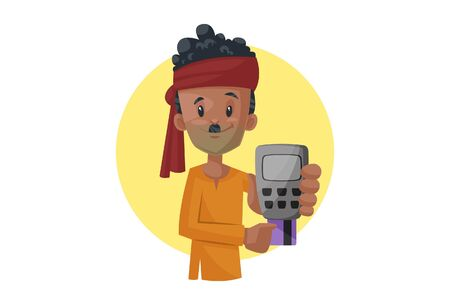 Vector cartoon illustration of vegetable seller holding swipe machine and card. Isolated on white background.