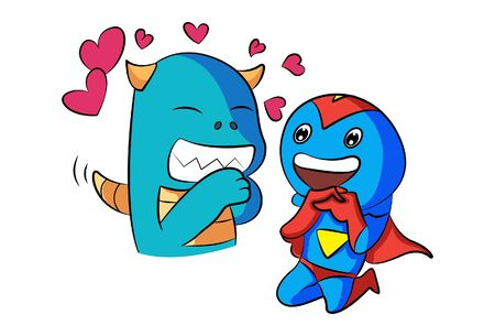 Vector cartoon illustration of dino and hero in love. Isolated on white background.