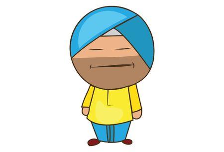 Vector cartoon illustration of punjabi sardar standing with closed eyes. Isolated on white background. Illustration