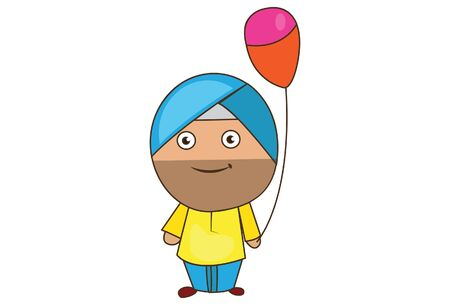 Vector cartoon illustration of punjabi sardar holding balloon in hand. Isolated on white background.
