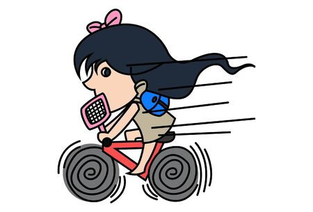 Vector cartoon illustration of a girl riding a bicycle. Isolated on white background. 向量圖像