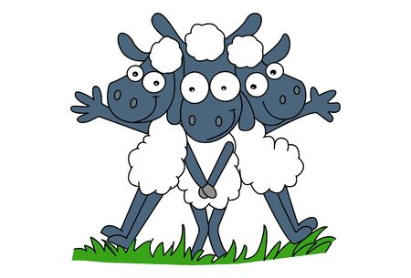 Vector Illustration. Cute Sheeps Character. Isolated on white background. 向量圖像