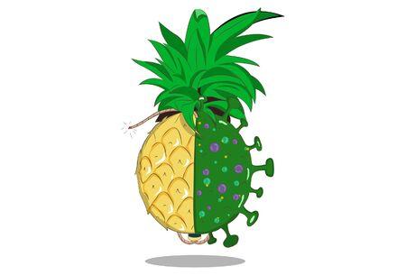 Vector cartoon illustration of pineapple and corona virus. Isolated on white background. 向量圖像