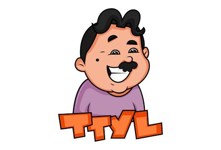 Vector cartoon illustration of a fat man. Written text ttyl means talk to you later. Isolated on white background. Ilustracja