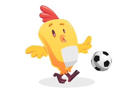 Vector cartoon illustration of a little chick bird is playing football. Isolated on white background.  イラスト・ベクター素材