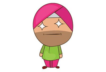 Vector cartoon illustration of punjabi sardar eyes star shape. Isolated on white background.