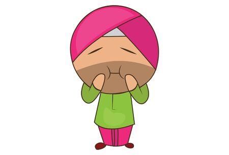 Vector cartoon illustration of punjabi sardar making face. Isolated on white background.