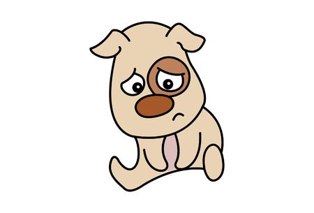Vector cartoon illustration of the sad dog. Isolated on white background.
