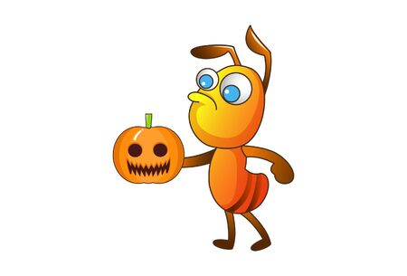 Vector cartoon illustration of an ant with pumpkin. Isolated on white background.