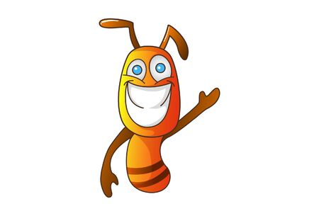 Vector cartoon illustration of an ant laughing and waving hand. Isolated on white background. Vettoriali