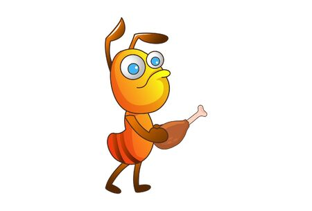 Vector cartoon illustration. An ant with chicken leg piece. Isolated on white background. Vettoriali