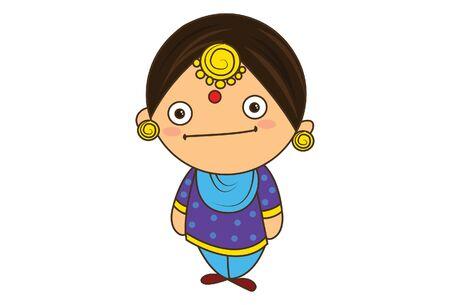 Vector cartoon illustration of punjabi sardarni . Isolated on white background.