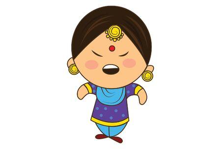 Vector cartoon illustration of punjabi sardarni angry. Isolated on white background.