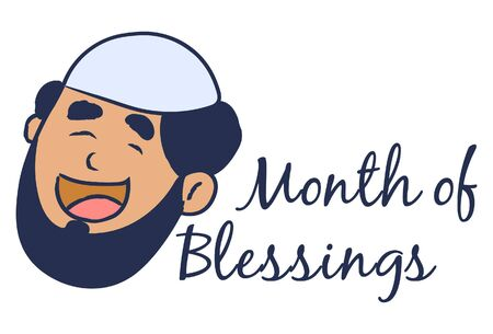 Vector cartoon illustration of muslim man face. Lettering text month of blessings. Isolated on white background.
