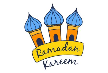 Vector cartoon illustration of mosque dome. Lettering text- Ramadan Kareem. Isolated on white background.