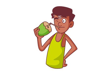 Vector cartoon illustration. South Indian man drinking coconut water. Isolated on white background.