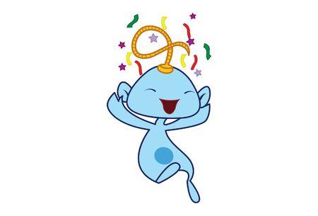 Vector cartoon illustration of the genie celebrating. Isolated on white background.