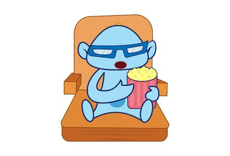 Vector cartoon illustration of the genie sitting on the chair and holding popcorn. Isolated on white background.