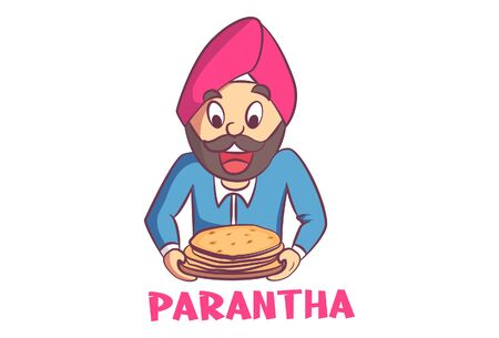 Vector cartoon illustration of Punjabi man holding paratha plate in hand. Lettering text paratha. Isolated on white background.