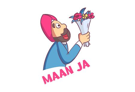 Vector cartoon illustration. Punjabi man holding a flower bouquet in hand. Maan ja Hindi text translation- please agree. Isolated on white background.